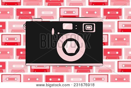 Old Pink Retro Vintage Antique Hipster Obsolete Camera With A Lens And A Diaphragm On The Background