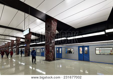 Moscow, Russia - March 17. 2018. Interior Of The Metro Station Horoshevskaya