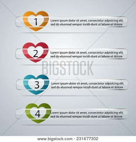 Glass Strips With Sliders In The Form Of Heart. Transparent Labels. Vector.glass Strips With Sliders
