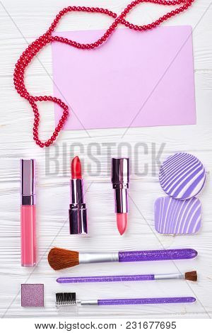Makeup Cosmetics On White, Top View. Flat Lay Of Women Cosmetics And Accessories, Top View. Cosmetic