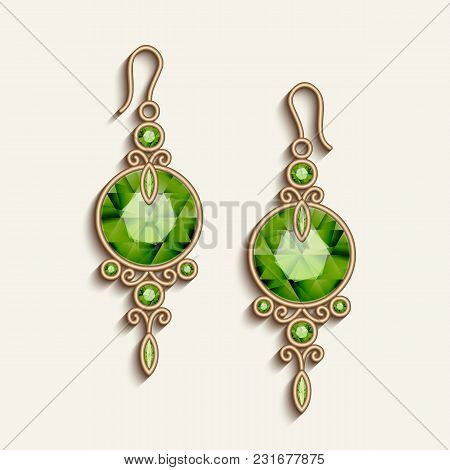 Vintage Gold Jewelry Earrings With Green Gemstones