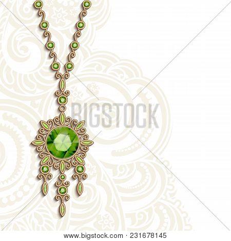 Vintage Gold Jewelry Pendant With Gemstones