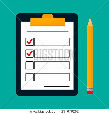 To Do List Or Planning Concept For Business. Clipboard, Survey Or Test With Note, Clipboard With Doc