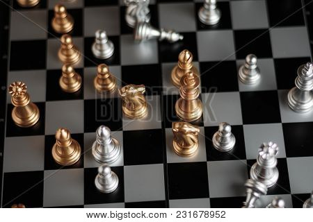 Silver And Golden Chess In Game Metaphor Tactics And Business Plan Concept