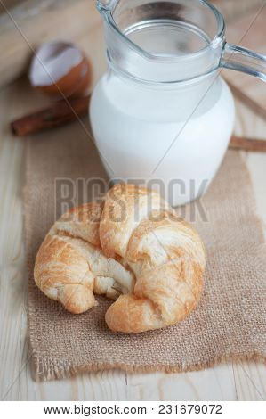 Croissant On Wooden Table Wood And Fabric Select Focus Shallow Depth Of Field