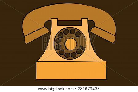 Yellow Stationary Old Retro Vintage Antique Hipster Phone With Snorkel And Disk On Brown Background.