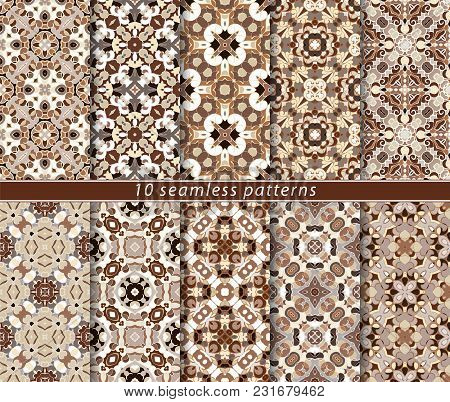 Vector Set Of Ten Seamless Abstract Patterns In Shades Of Brown. Decorative And Design Elements For