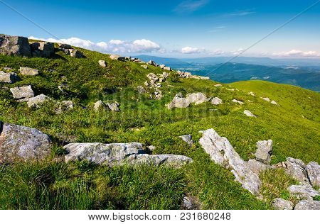 Grassy Meadow With Rocky Formations In Mountains. Lovely Summer Landscape. Location Runa Mountain, C