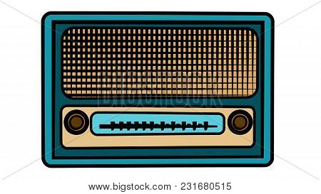 An Old Blue Retro Vintage Antique Hipster Obsolete Music Radio On A White Background. Vector Illustr