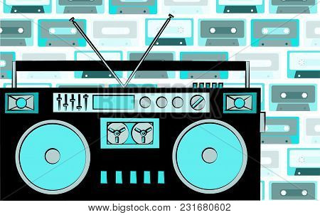 Old Blue Retro Vintage Antique Hipster Obsolete Cassette Music Audio Tape Recorder On A Background O