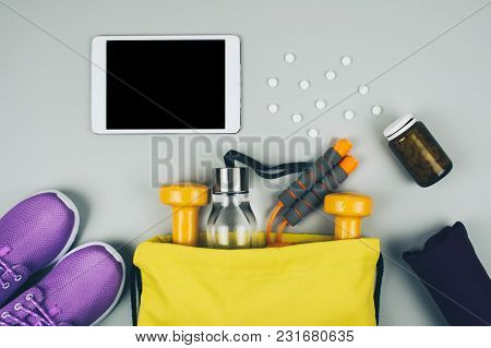 Fitness Abstract Healthy Lifestyle Concept. Sport And Health.