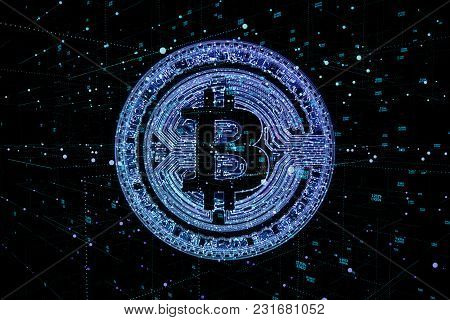 Digital Money Bitcoin On The Neural Global Network Background.