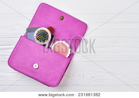 Female Accessories In Handbag, Copy Space. Flat Lay Of Stylish Woman Accessories, Handbag Clutch, Ha