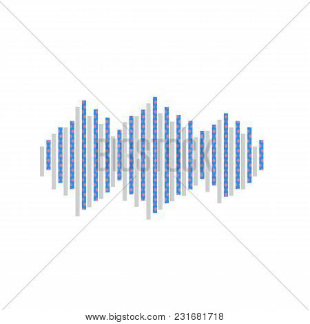 Sound Waves Icon. Vector. Neon Blue Icon With Cyclamen Polka Dots Pattern With Light Gray Shadow On