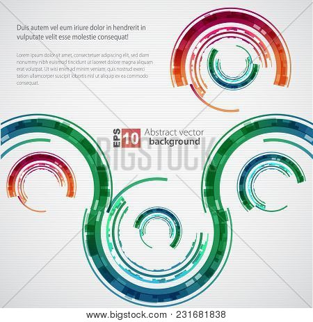 Abstract Color Technology Circles And Waves. Vector