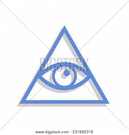 All Seeing Eye Pyramid Symbol. Freemason And Spiritual. Vector. Neon Blue Icon With Cyclamen Polka D