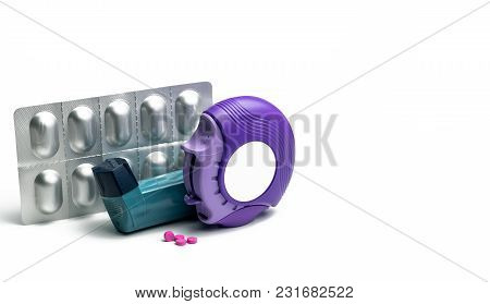 Set Of Asthma Inhaler, Accuhaler And Anti-allergy Pills For Treatment Asthma. Asthma Controller, Rel