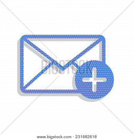Mail Sign Illustration With Add Mark. Vector. Neon Blue Icon With Cyclamen Polka Dots Pattern With L