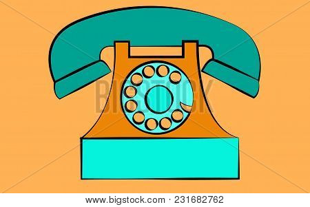 Blue Stationary Old Retro Vintage Antique Hipster Phone With Snorkel And Disc On A Yellow Background
