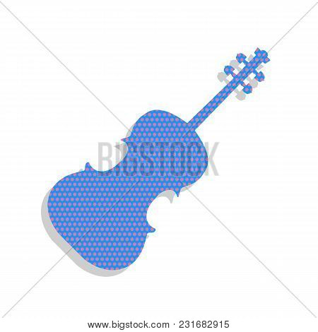 Violin Sign Illustration. Vector. Neon Blue Icon With Cyclamen Polka Dots Pattern With Light Gray Sh