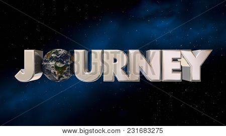Journey Space Adventure Exploration Beyond Earth 3d Illustration