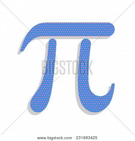 Pi Greek Letter Sign. Vector. Neon Blue Icon With Cyclamen Polka Dots Pattern With Light Gray Shadow