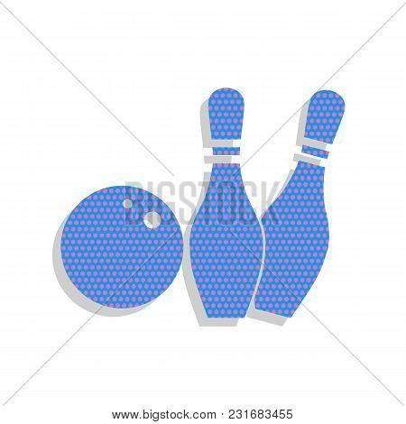 Bowling Sign Illustration. Vector. Neon Blue Icon With Cyclamen Polka Dots Pattern With Light Gray S