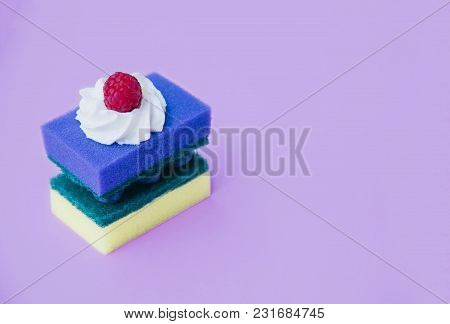 Two Cleaning Sponges As A Birthday Cake. Creative Minimal Design With Copy Space.