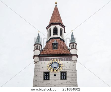 Old Townhall At Marienplatz Mary's Square In Munich Bavaria, Germany