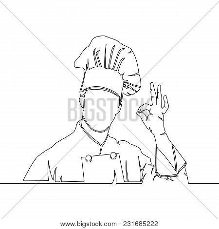 One Continuous Line Drawing Chef Showing Ok Sign Vector Illustration