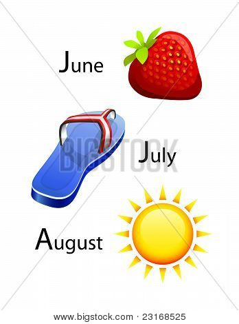 summer calendar - june, july, august