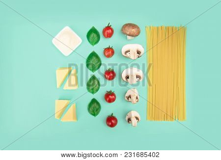 Italian Pasta With Tomatoes, Grated Parmesan And Basil. Flat Lay Style, Knolling Concept With Copy S