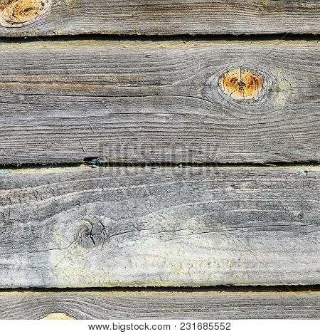 The Fence From Wooden Boards Close-up