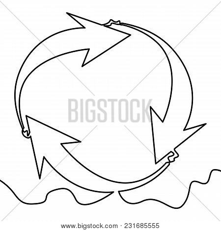 One Continuous Line Drawing Of Cycle Arrows Vector Illustration