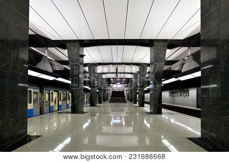 Moscow, Russia - March 17. 2018. Interior Of Metro Station Petrovsky Park