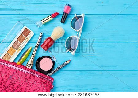 Feminine Cosmetics Set And Copy Space. Fashion Woman Essentials, Cosmetics, Sunglasses. Makeup Acces