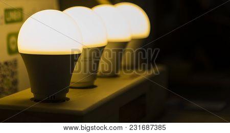 The Row Of Led Lamp ; Energy Saving
