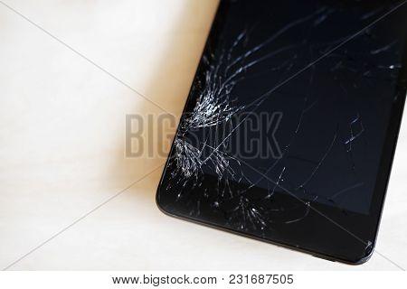 Macro Of Broken Glass On The Smartphone