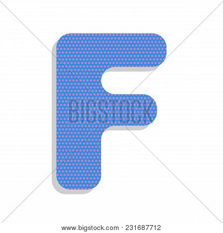 Letter F Sign Design Template Element. Vector. Neon Blue Icon With Cyclamen Polka Dots Pattern With