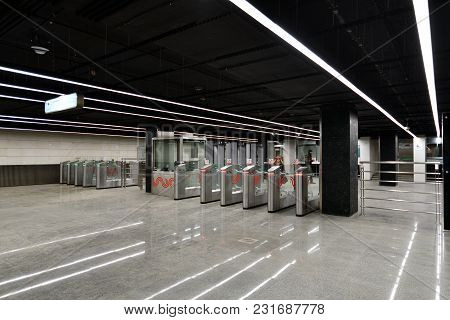 Moscow, Russia - March 17. 2018. Turnstiles At The Entrance To The Metro Station Petrovsky Park