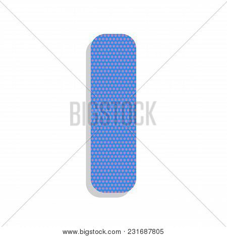 Letter I Sign Design Template Element. Vector. Neon Blue Icon With Cyclamen Polka Dots Pattern With