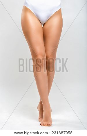 Beautiful Shapely Female Legs. Woman On A Gray Background. Body Part
