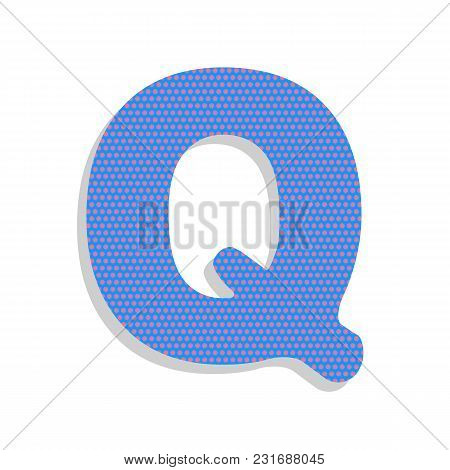 Letter Q Sign Design Template Element. Vector. Neon Blue Icon With Cyclamen Polka Dots Pattern With