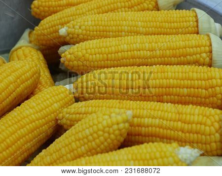 Yellow Boiled Corns In Street Food ; Thailand