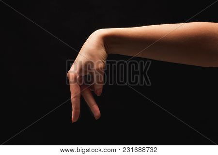 Walking Caucasian Female Fingers Isolated On Black Background. Going Small Woman Made Of Hand, Copy