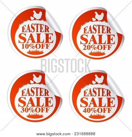 Easter Sale Stickers 10,20,30,40 With Chicken.vrector Illustration