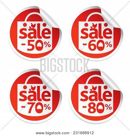 Easter Sale Stickers 50,60,70,80 With Egg In The Grass And Chicken.vrector Illustration