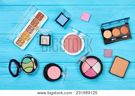 Set Of Compact Eyeshadows, Top View. Face Powder And Lipstick Palette. Collection Of Decorative Cosm