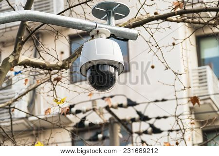 Cctv 360 Degree Surveillance Camera Over The Road With Domed Glass.