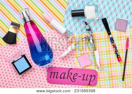 Feminine Makeup Background, Top View. Woman Beauty Essentials On Colorful Background. Female Cosmeti